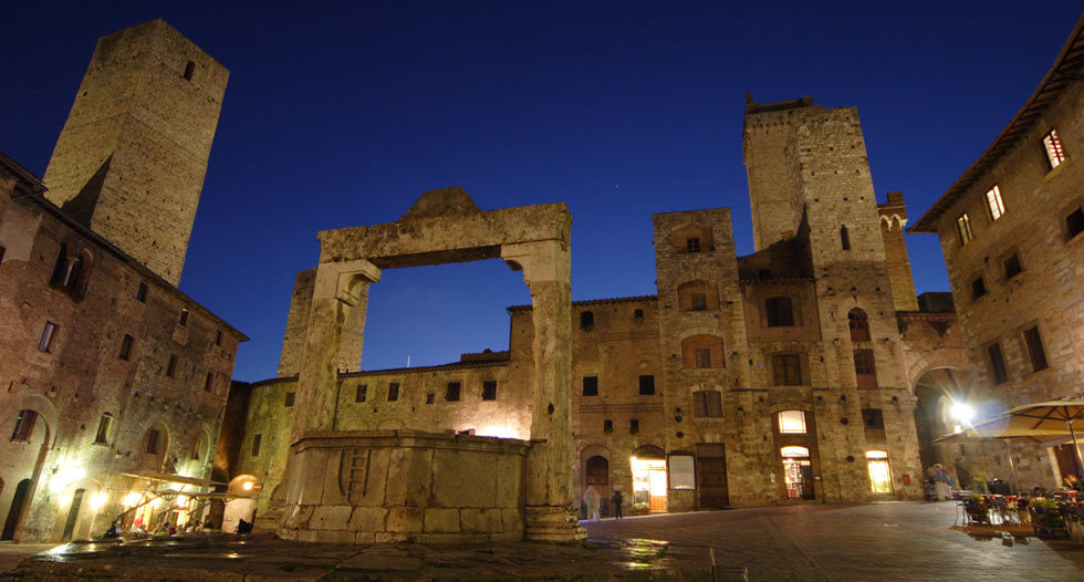 san gimignano night panorama tuscany Pictures