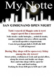 my notte locandina 211x300 My night friday open night in San Gimignano