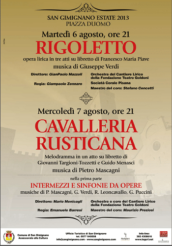 Stagione lirica san gimignano The opera season in San Gimignano