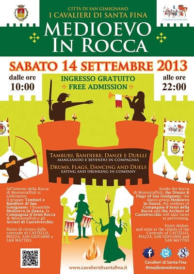 La locandina di Medioevo in Rocca Parades, duels, drummers, flag bearers and cousine:  Middle Ages  in San Gimignano