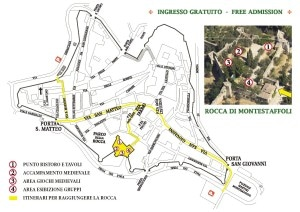 cartina evento Medioevo in Rocca Parades, duels, drummers, flag bearers and cousine:  Middle Ages  in San Gimignano